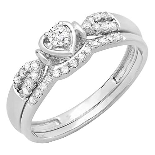 Dazzlingrock Collection 0.25 Carat (ctw) 10K Round Diamond Heart Shaped Bridal Engagement Ring Set 1/4 CT, White Gold, Size 9.5 -