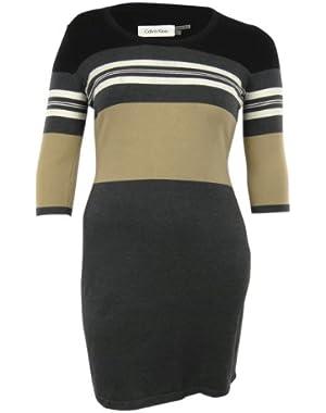 Multi Striped Knit Cotton Blend Round Neck Dress
