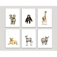 Safari Nursery Art Prints, Set of 6, Baby Animals, Available in Various Sizes, UNFRAMED PRINTS