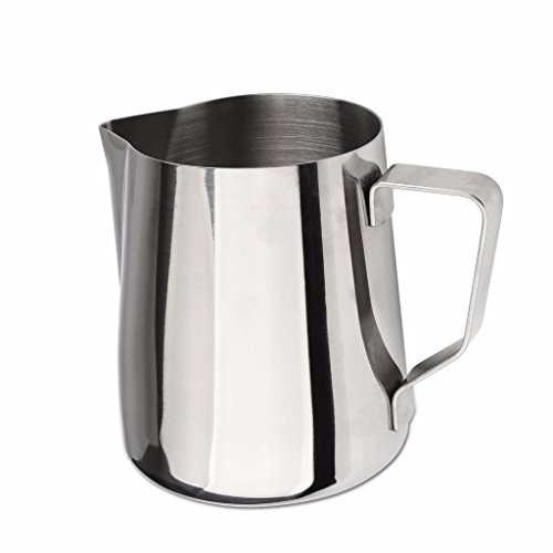 Domini Milk Frothing Pitcher, Stainless Steel Metal 20oz -For Milk Frothers, Espresso Cappuccino Coffee, Creamer,Steaming,chef,motta (Measurement ()