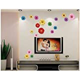 Kappier Bright Colorful Gerbera Daisies Peel & Stick Removable Wall Decals