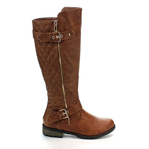 J.J.F Shoes Mango-21 Tan Dual Gold Decorative Zipper/Buckle Quilted Motorcycle Riding Knee High Boots-6.5