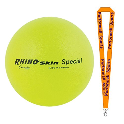 Champion Sports Rhino Skin Ball Yellow Bundle with 1 Performall Lanyard RS85NYL-1P by Champion Sports