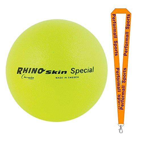 Champion Sports Rhino Skin Ball Yellow Bundle with 1 Performall Lanyard RS85NYL-1P by Champion Sports