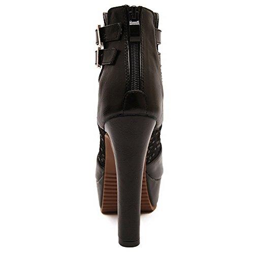 Amoonyfashion Mujeres Zipper High Heels Nappa Solid Sandals Peep Toe Negro