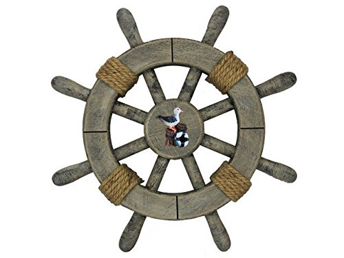 Handcrafted Decor Super-Rustic-White-SW-12-Seagull Rustic Decorative Ship Wheel with Seagull, 12 in.