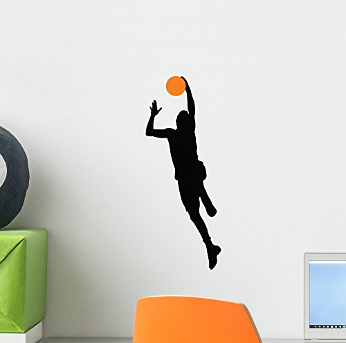 Basketball Player Silhouette Wall Decal by Wallmonkeys Peel and Stick Graphic (12 in H x 5 in W) WM314549