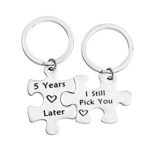 Zuo Bao 1,5,10,20 Years Later I Still Pick You Key Ring Stainless Steel Jigsaw Puzzle Piece Matching Pendant Keychain Set Couple Jewelry (5 Years Later I Still Pick You)