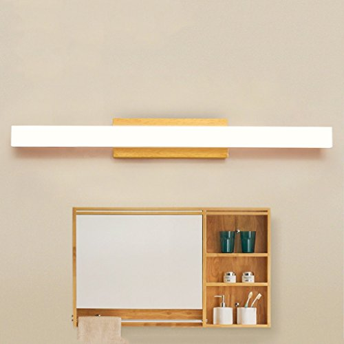 Solid Wood, Mirror Light, LED Wall Washer, Mirror Light Cabinet Light, Bathroom Simple Dresser Wall Light, Warm Light (Size : 60CM 10W) by Mingteng (Image #5)