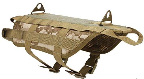 Myheartgoon Tactical Dog Vest Training Molle Harness(Desert digital, XL)