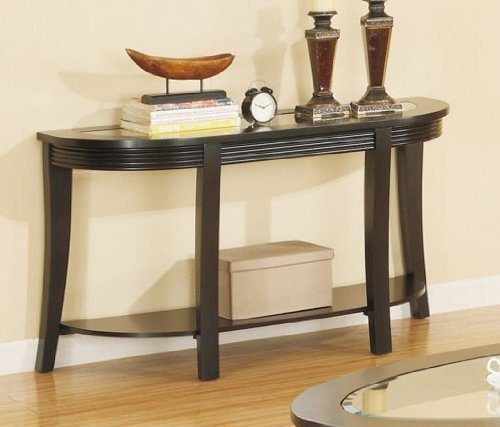Sofa Table with Glass Top in Espresso Finish by Poundex by PDX
