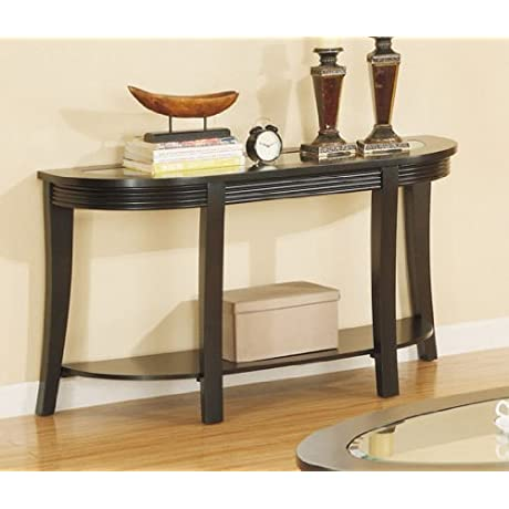 Sofa Table With Glass Top In Espresso Finish By Poundex