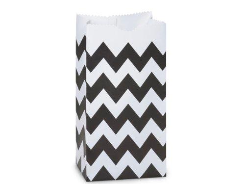 Chevron Black & White Paper Bag - Package of 25