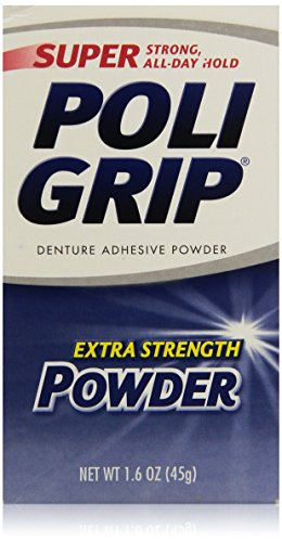 PoliGrip Super Denture Adhesive Powder, Extra Strength, 1.6 oz (45 g)  One Bottle