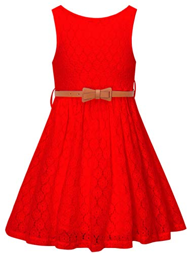 Girls Summer Lace Party Dress with Belt, Flower Girl Sleeveless Lace Dress for Little Girls, Red, 9T-10T (9-10 Years)=Tag 150