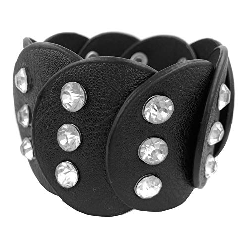 (Gypsy Jewels Black Faux Leather Silver Tone Studded Rhinestone Wrap Around Snap Punk Rock Biker Bracelet (Circle Flair))