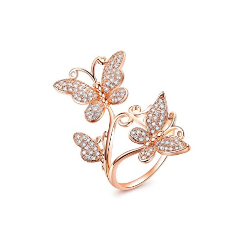 (Bella Lotus Delicate Butterflies 18k Rose Gold Plated CZ Diamond Women Party Rings, Size 9)