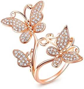 Bella Lotus Delicate Butterflies 18k Rose Gold Plated CZ Diamond Women Party Rings, 3 Colors