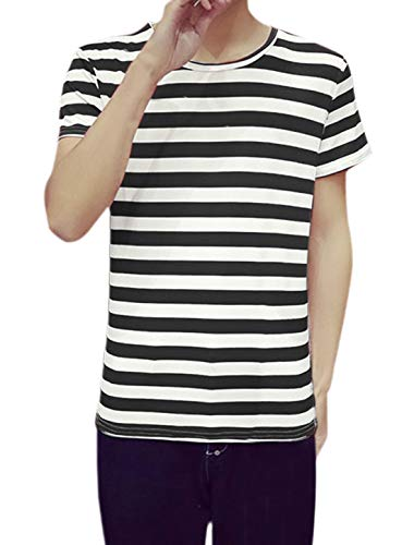 uxcell Men Crewneck Color Block Short Sleeve Allover Print Striped T Shirt Black M US 38]()