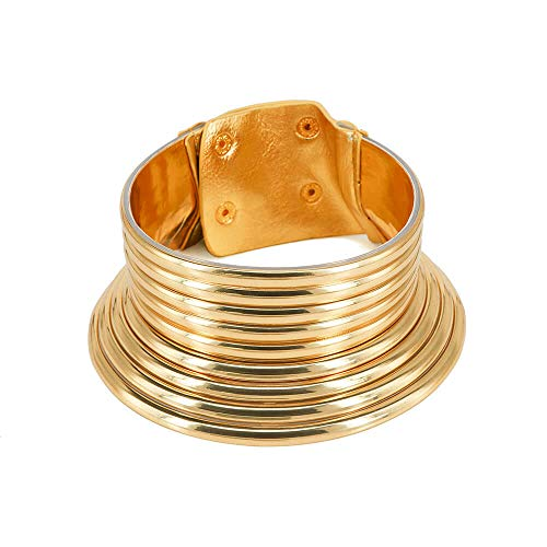 GMQHD Fashion Punk African Gold Resin Choker Necklace for Women, Statement Okoye Egypt Gothic Snap Chunky Leather Jewelry Gift for Best Friend Birthday Christmas. (1-1G)