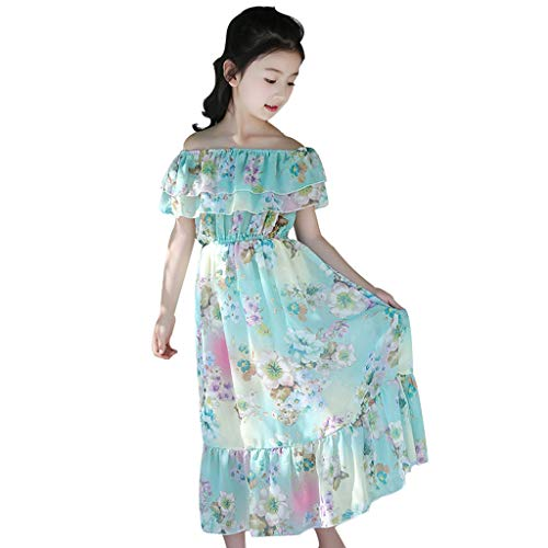 TEVEQ Kids Teen Children Girls Floral Dress Butterfly Ruched Off Shoulder Princess Dress Light Blue