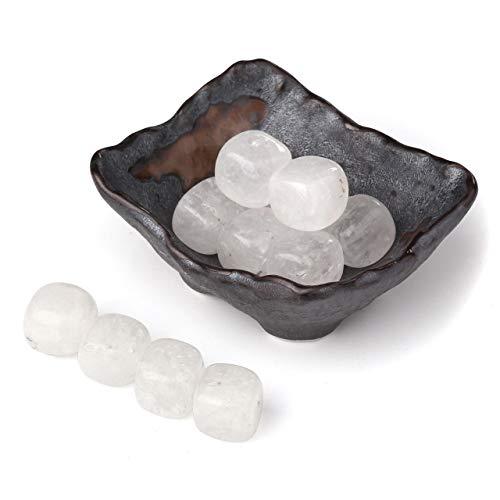 - Top Plaza Tumbled Polished Stones Healing Crystals Natural Clear Quartz Gemstone Quartz Bulk with Square Ceramic Bowl Home Decor for Wicca Reiki Healing Energy - 12 Pcs Stones