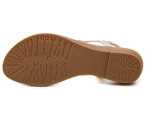 Zapatos Chanclas Sandalias Gold Bohe de Rhinestone Romanas Casuales Sandalias Plano KUONUO de Sandalias Playa Damas Moda Bohemia Mujeres rCqwTO8r