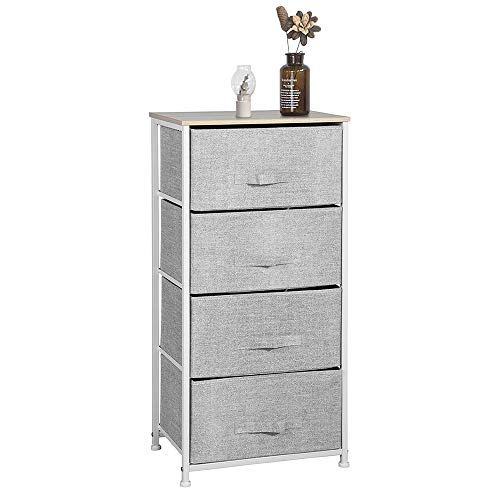 Aingoo Dresser Storage 4 Drawers Storage Bedroom Steel Frame Fabric Dressers Drawers for Clothes Grey Wood Board
