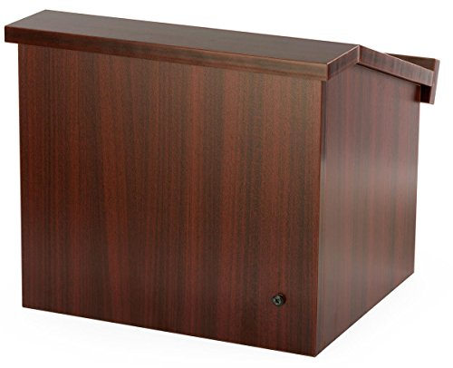 Displays2go 12.6 Inch H Tabletop Portable Podium, Folding, Angled Surface with Lip, Storage Area, Mahogany (LCTFLDNGOM) by Displays2go