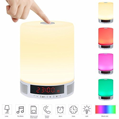 LED Wireless Speaker,ELEGIANT Portable Wireless Speaker,LED Bedside Table Lamp,Dimmable Night Light with Touch Control,Alarm Clock, Hands-Free Speakerphone with Mic,TF Card -