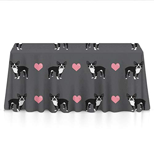 GOAEACH Boston Terrier Love Hearts Square/Rectangular Tablecovers Polyester Spillproof Wrinkle Free Tablecovers - Dinning Tabletop Decoration Celebrations Outdoor Party BBQ Table Toppers