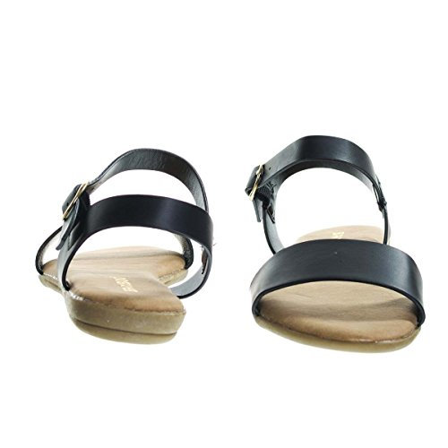 Bambu Tvådelad Platt Sandal W Bekväm Skum Stoppad Innersula. Kvinnor Öppen Tå Svart