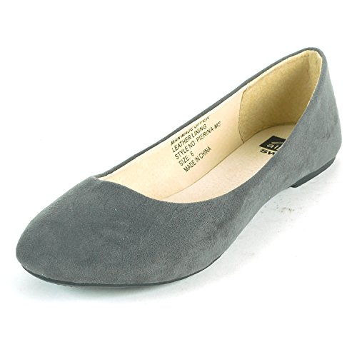 Leather Suede Womens Shoes (Alpine Swiss Women's Gray Micro-Suede Pierina Ballet Flats 6 M)