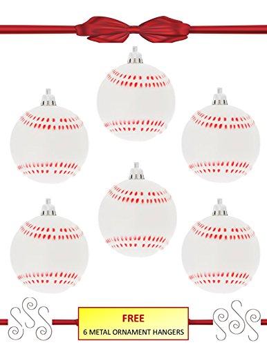 Pewter Christmas Bells Ornament (Baseball Softball Sport Ornaments w/ Hangers - 6 Pack Set/Bundle - Shatterproof)