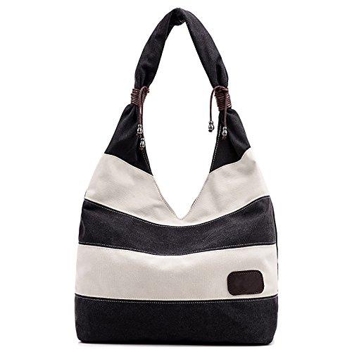 Fanspack Women's Canvas Hobo Handbags Stripe Pattern Top Handle Tote Bag Casual Shoulder Bag Shopping Work Bag