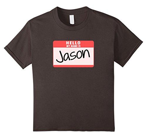 [Kids Hello My Name is Jason Funny Halloween Killer Costume Shirt 10 Asphalt] (Youth Jason Costume)