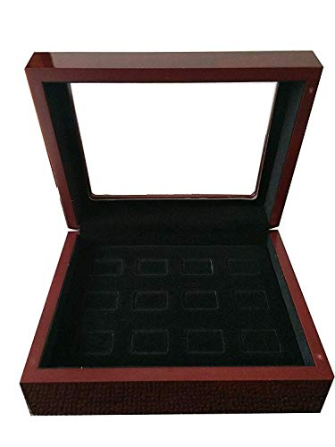 TIKIYOGI 12 Holes Championship Big Heavy Ring Display Wooden Box Black Velvet -