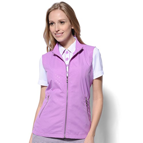 Monterey Club Ladies' Lightweight Sparkling Dot Microfiber Poplin Zip- up Vest #2771(Violet/Silver,Medium) -
