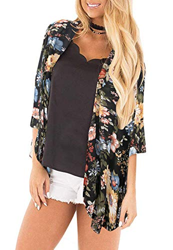 Womens Kimono Cardigan Beach Cover Up Floral Chiffon Loose Capes (Peacock,M)