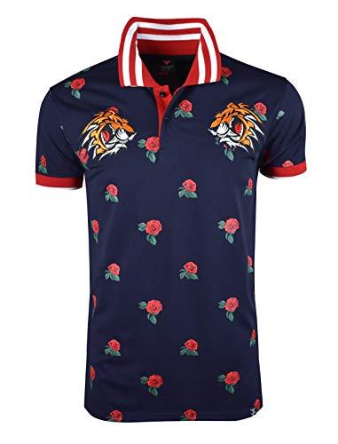 SCREENSHOTBRAND-S11835 Mens Hipster Hip-Hop Premiun Tee - Stylish Fashion Rose Flower Print Tiger Embroidery Polo-Shirts-Navy-Medium