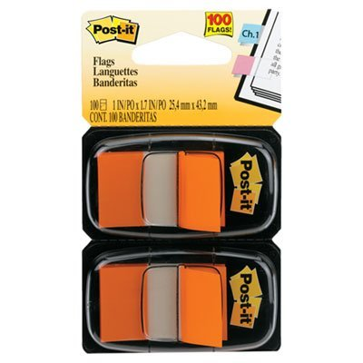 Standard Page Flags in Dispenser, Orange, 100 Flags/Dispenser, Sold as 100 Each