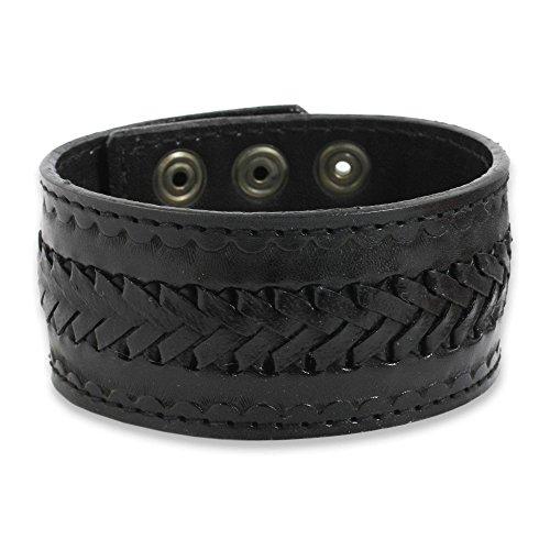 - NOVICA Brass Leather Men's Wristband Bracelet, 8.5