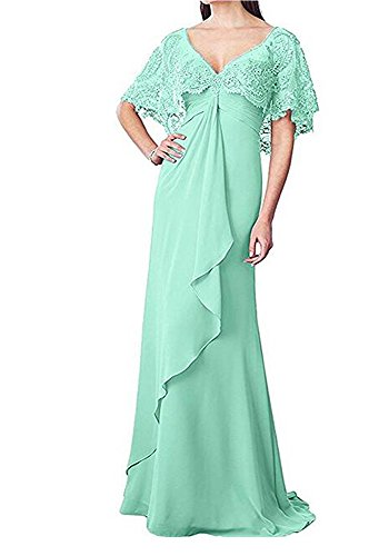 Long for Botong Mother Chiffon Wedding Dresses A Mint Neck Lace Sleeves V Line Dress AqABvwP