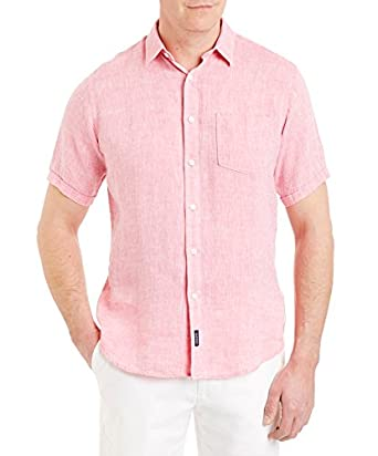 1919390fafa4 Gazman Men s Pure Plain Linen Short Sleeve Shirts XXL