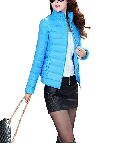 Femme Section courte Lger et mince Slim une petite veste Veste en Duvet Bleu