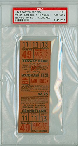 (1967 Boston Red Sox - Impossible Dream AL Champs FULL TICKET vs Detroit Tigers Al Kaline HR #299 - August 17, 1967 [Grades Excellent, Front is NMT, Back has minor damage] by Mickeys Cards)