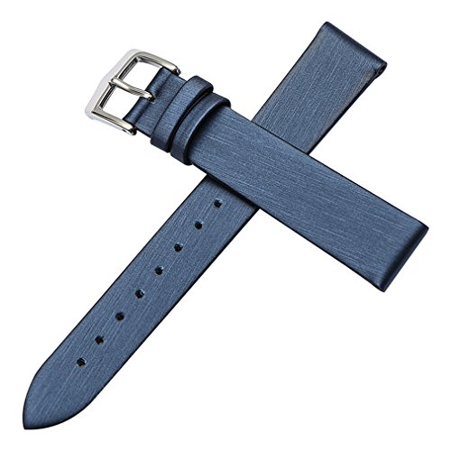 10 Watch Mm Band (Blue Genuine Leather Thin Silky Watch Bands Straps Replacement Classy Look 10mm for Girls)
