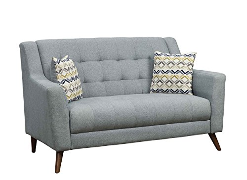 Homelegance Basenji Mid-Century Modern Tufted Loveseat with Accent Pillows, Gray