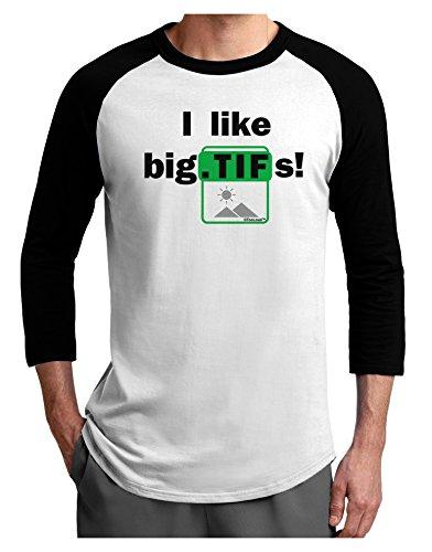 (TooLoud I Like Big TIFS Adult Raglan Shirt White Black 2XL)