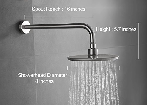 Purelux Rainfall Shower Head with 16 Inch Extra Long Stainless Steel Shower Arm, Brushed Nickel Finish 5 YEAR WARRANTY